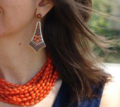 Earrings are by Anna Nova - Camilla Jade Beaded Earrings Orange available at Runway Style